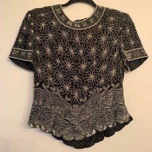 Papell Boutique Black Silver Beaded Blouse size M